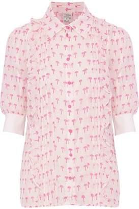 Baum und Pferdgarten Ruffled Printed Cotton And Silk-Blend Shirt
