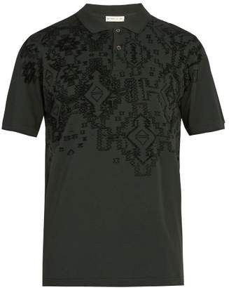 Etro Embossed Cotton Polo Shirt - Mens - Green