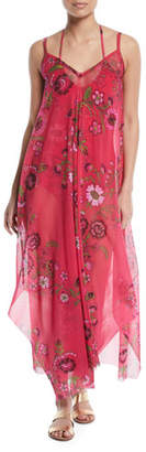 Fuzzi Floral-Print Maxi-Length Coverup Dress