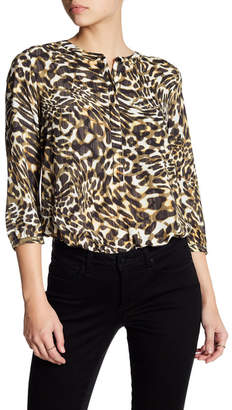 NYDJ Henley 3/4 Length Sleeve Print Blouse