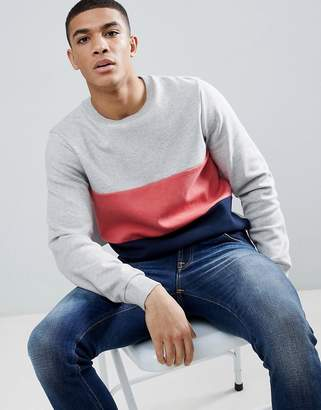 Jack Wills Lambrook Colour Block Crew Neck Sweat In Grey Marl
