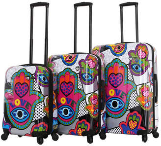 Mia Toro Italy Hamsa Love S Hard Side Spinner Luggage 3PC Set