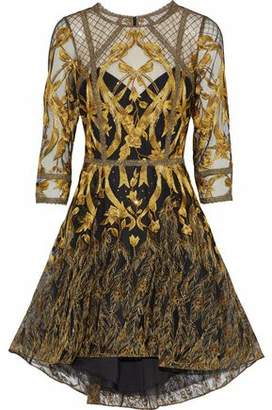 Marchesa Sequin-embellished Metallic Embroidered Tulle Dress