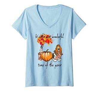 Womens Basset Hound Dog Mom - It's the Most Wonderful Time Of Year V-Neck T-Shirt