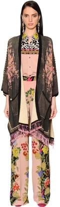 Etro Printed & Fringed Cotton Knit Cardigan
