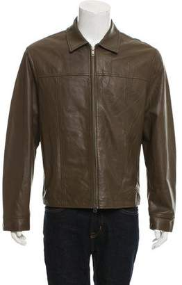 John Varvatos Leather Zip-Up Jacket