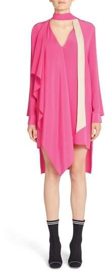 Fendi Drape Silk Crepe de Chine Dress