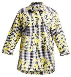 Caroline Rose Women's Embroidered Gingham Shirt - Yellow Black White - Size 1X (14-16)