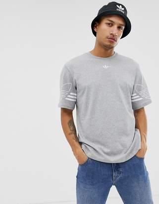 adidas T-Shirt Outline Trefoil Logo Grey DU8146
