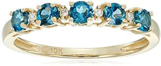 10k Yellow Gold London Topaz and Diamond Accented Stackable Ring