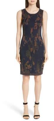 St. John Leafed Copper Jacquard Sheath Dress