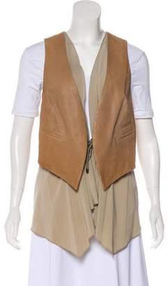 Brunello Cucinelli Silk & Leather Vest