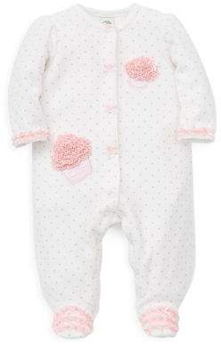 Little Me Baby Girl's Cupcake Velour Footie