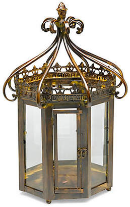 "One Kings Lane 24"" Merino Octagonal Lantern - Antiqued Brass"