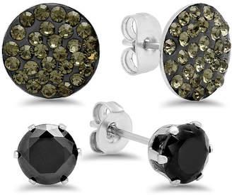 FINE JEWELRY Steeltime 1 7/8 CT. T.W. Black Cubic Zirconia Stainless Steel Round Earring Set