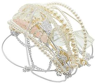 Kat & George Women's Handmade Pearls White Crystals and Rose Quartz Chains Large Bridal Bun Holder
