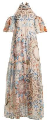 Temperley London Quartz crystal-print silk-chiffon maxi dress