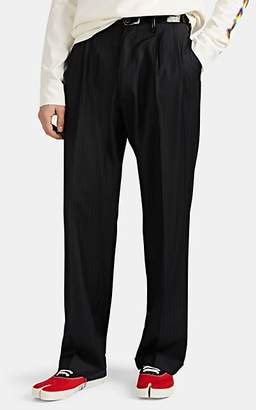 Maison Margiela Men's Leather-Trimmed Pinstriped Worsted Wool Trousers - Charcoal