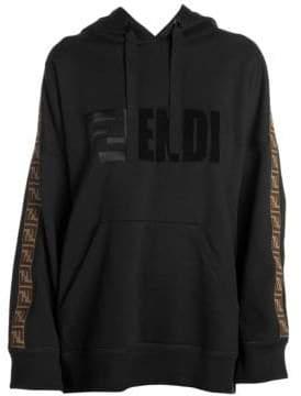 Fendi Women's Hooded Logo Stripe Pullover - Black - Size Small