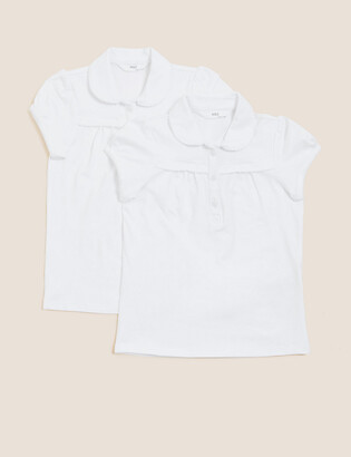 Marks and Spencer 2 Pack Girls' Cotton Rich Polo Shirts