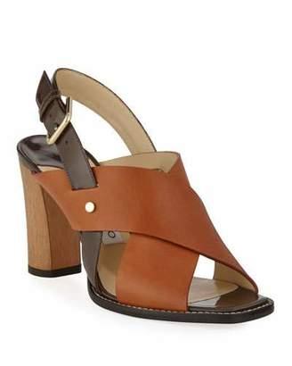Jimmy Choo Aix Wooden-Heel Vachetta/Patent Slingback Sandals