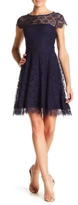 Kensie Sheer Back Cutout Lace Dress