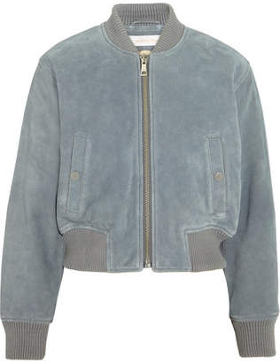 See by Chloé - Suede Bomber Jacket - Sky blue $715 thestylecure.com