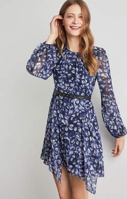 BCBGMAXAZRIA Faux Leather-Trimmed Floral Dress