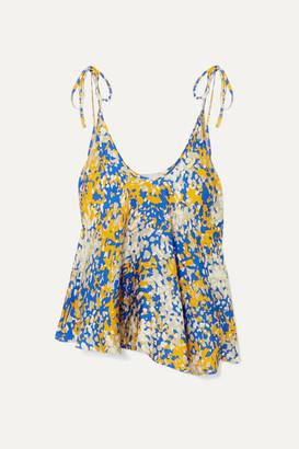 Stella McCartney Net Sustain Tie-detailed Printed Crepe Camisole - Blue