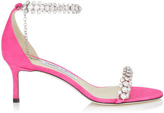 Jimmy Choo SHILOH 60 Hot Pink Suede Open Toe Sandal with Jewel Trim