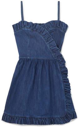 Stella McCartney Ruffled Denim Wrap Mini Dress - Blue