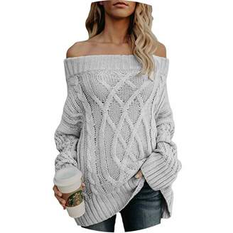 ae8d65430732 Lady Funny Day Winter Slash Neck Off Shoulder Sexy Sweater Women Casual  Loose Argyle Pullover