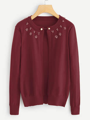 Shein Pearl Beaded Solid Cardigan