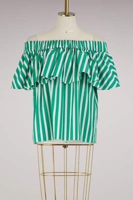 Maison Rabih Kayrouz Striped cotton strapless top