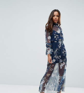 Asos Printed Mesh Maxi Dress With Shirred Neck