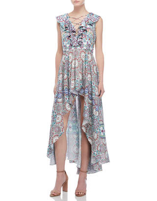 Island Stories Printed Ruffled Lace-Up Hi-Low Dress