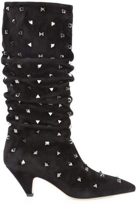 Valentino Studded Suede Mid-Calf Boots