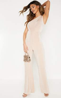 PrettyLittleThing Nude One Shoulder Textured Slinky Wide Leg Jumpsuit