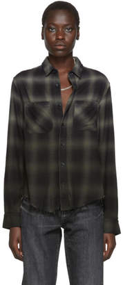 Amiri Green and Black Plaid Ombre Shirt