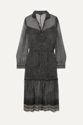 Rag & Bone Libby Tiered Printed Silk-crepon Dress - Black