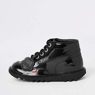Kickers black patent lace-up boots