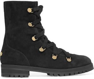 Jimmy Choo Danity Suede Combat Boots - Black