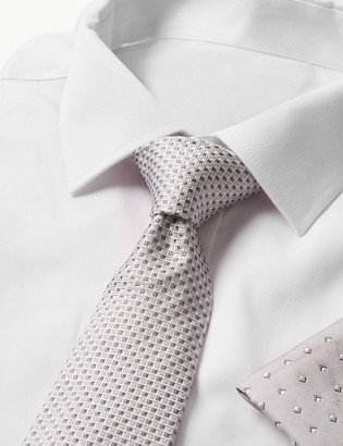 Marks and Spencer Pure Silk Geometric Hank & Tie Set