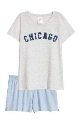 H&M Pajama Top and Shorts - Blue/Daydreamer - Women