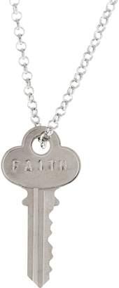 "The Giving Keys Silvertone 'FAITH' Key Pendant with 30"" Rolo Chain"