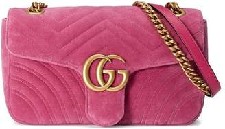 239e15279ff at Farfetch · Gucci GG Marmont Chevron velvet shoulder bag