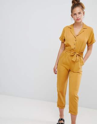 Pull&Bear button through jumpsuit in mustard