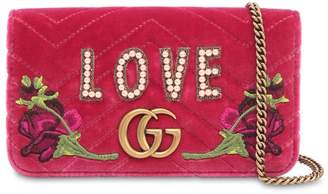 "Gucci Supermini ""Blind For Love"" Velvet Bag"