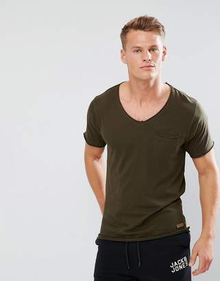 Brave Soul Basic Raw Edge V Neck T-Shirt