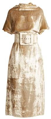 Maison Margiela Belted High Neck Velvet Dress - Womens - Beige